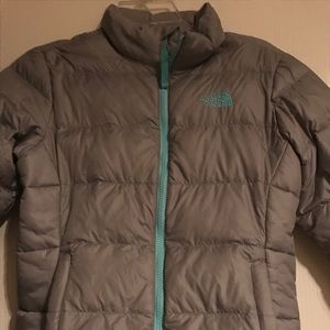 North Face winter coat, gray/mint green
